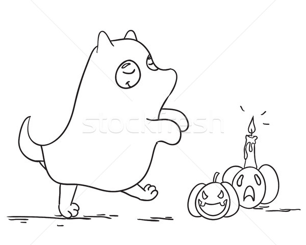 Cute little dog wearing ghost costume having fun on halloween night. Vector illustration. Stock photo © vasilixa