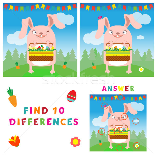 Find ten differences illustration of easter bunny with eggs. Vector colorful educational game for ki Stock photo © vasilixa