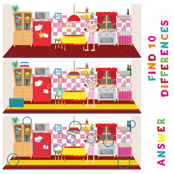 Encontrar dez diferenças aprendizagem jogo crianças Foto stock © vasilixa