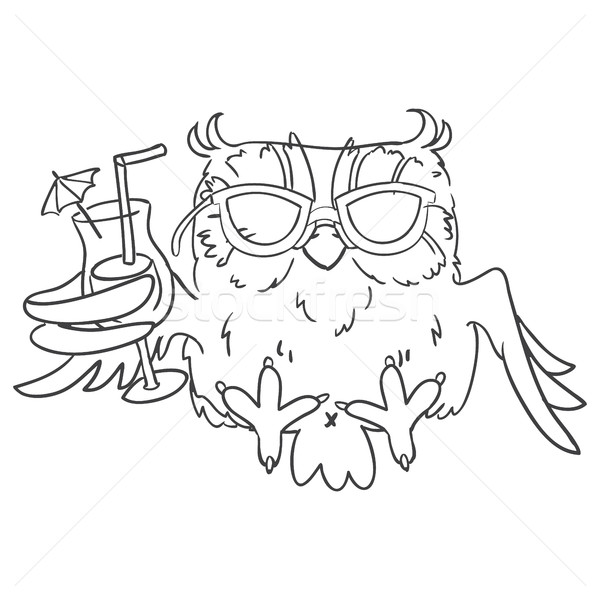 Foto stock: Coruja · óculos · de · sol · coquetel · mão · branco · linha