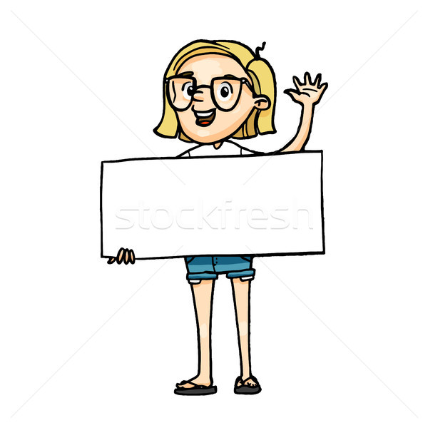 Smiling cartoon girl holding a blank board and greeting. Stock photo © vasilixa