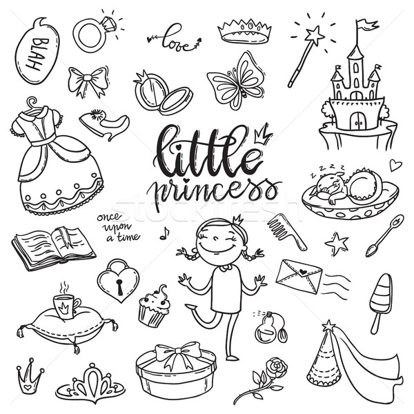 Little princess funny graphic set. Girls dress, butterfly Stock photo © vasilixa