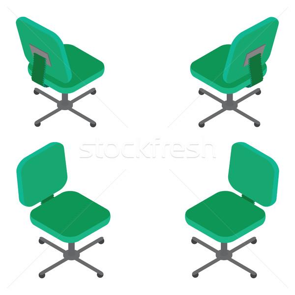 набор зеленый офисные кресла белый 3D изометрический Сток-фото © vasilixa