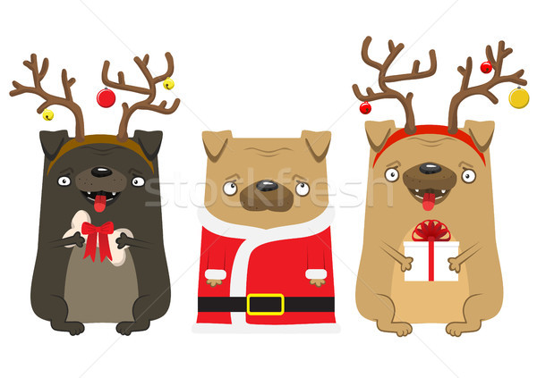 Happy New Year's dog. Symbol of the year 2018. Lovely pug with deer horns and pug Santa Claus. Stock photo © vasilixa