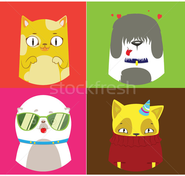 Pattern of four dogs and cats illustrations. Cute vector set. Stock photo © vasilixa