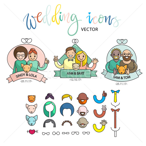 Wedding colorful icon set. Build your own design. Cartoon vector infographic illustration Stock photo © vasilixa