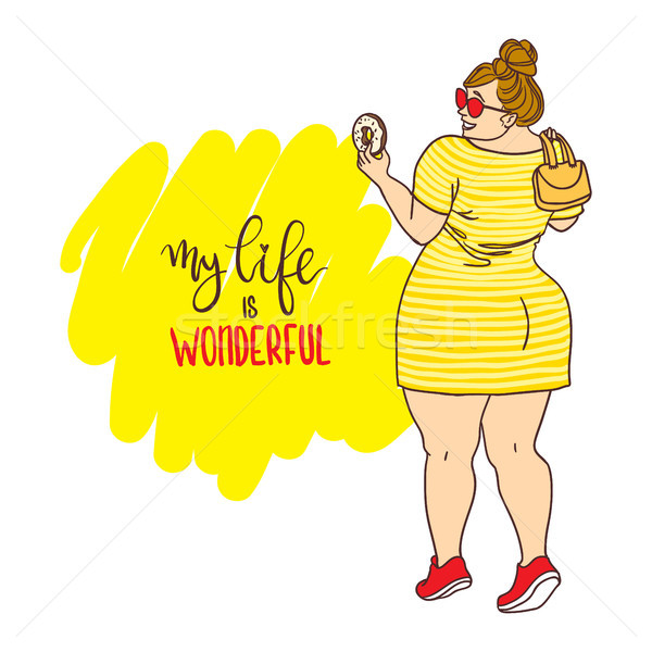 Curvy cartoon girl with donut. Inscription: my life is wonderful Stock photo © vasilixa