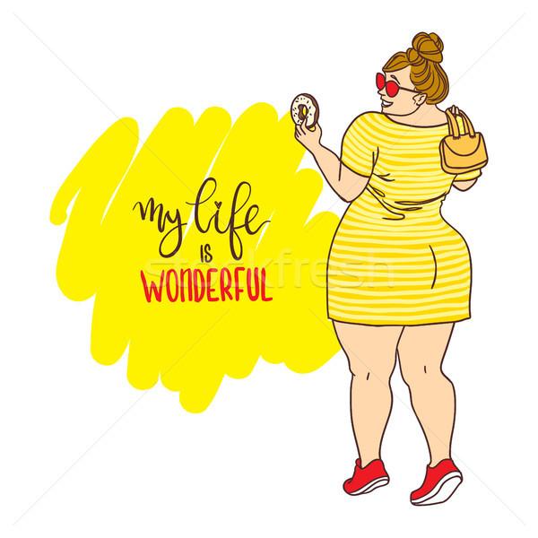 Cartoon meisje donut opschrift mijn leven Stockfoto © vasilixa