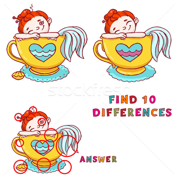 Find ten differences educational game for kids. Cute mermaid in cup of tea printable illustration. Stock photo © vasilixa