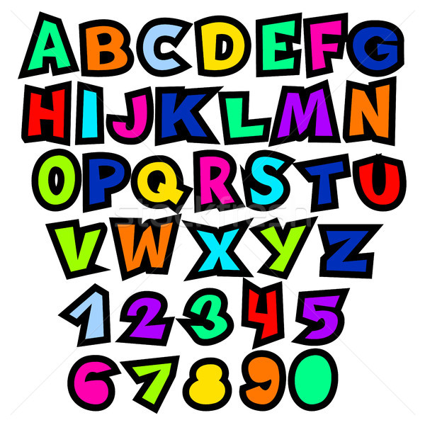 Bright colorful cartoon alphabet for kids. Vector educational set of letters and numbers.  Stock photo © vasilixa