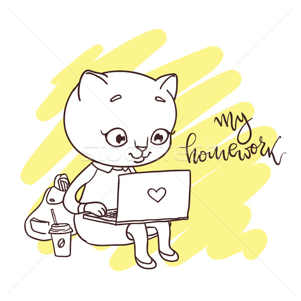 Cute kitty with laptop. Inscription: my homework.  Stock photo © vasilixa