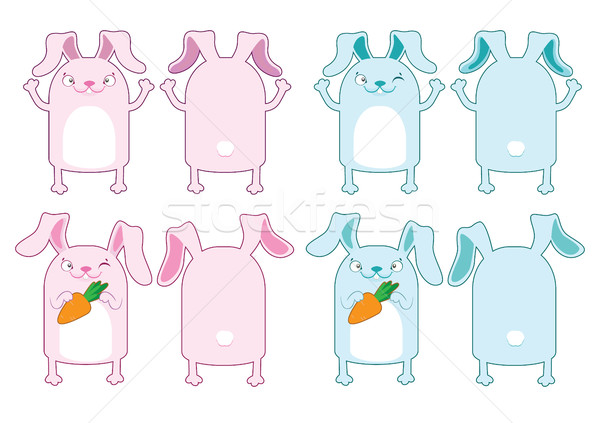 The Easter Bunny. Pink and blue Bunny with carrot Stock photo © vasilixa