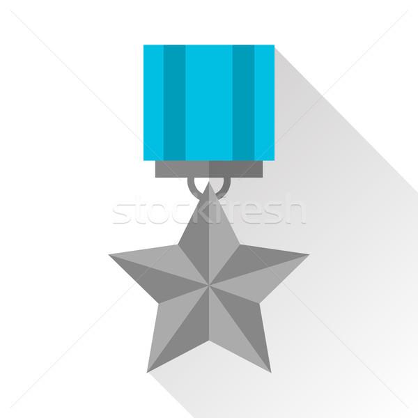 Argento medaglia icona bianco design star Foto d'archivio © vasilixa