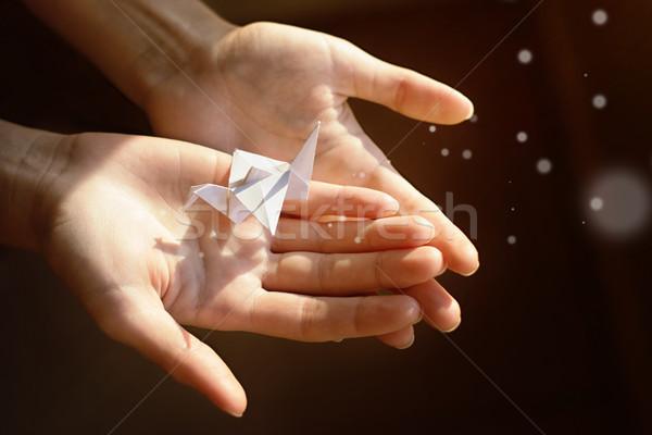 бумаги крана рук свет магия стороны Сток-фото © vasilixa