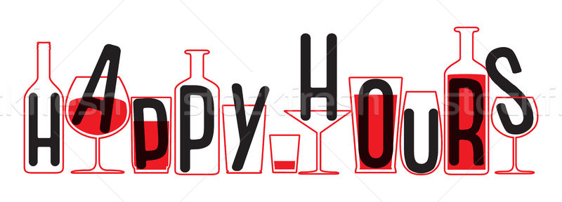 Drinking glass and bottles silhouettes. Vector Illustration of happy hours. Stock photo © vasilixa