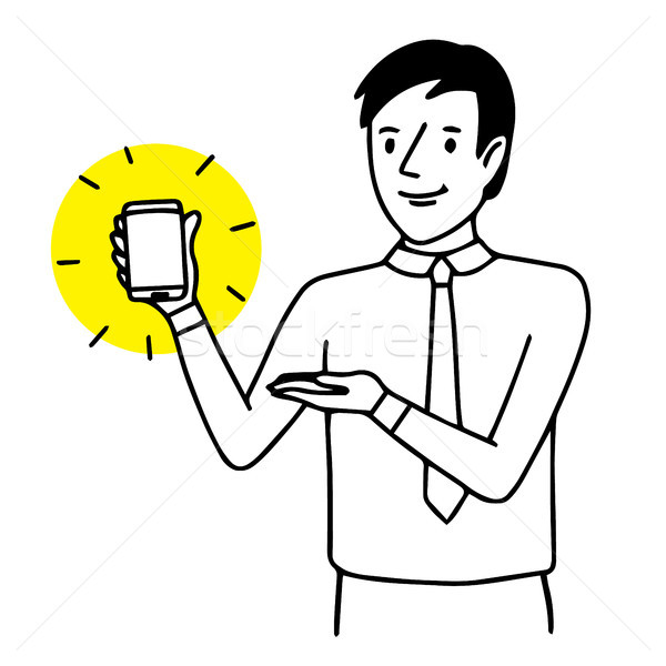 Man holding and showing a smartphone. Situation illustration. Vector isolated drawing. Stock photo © vasilixa