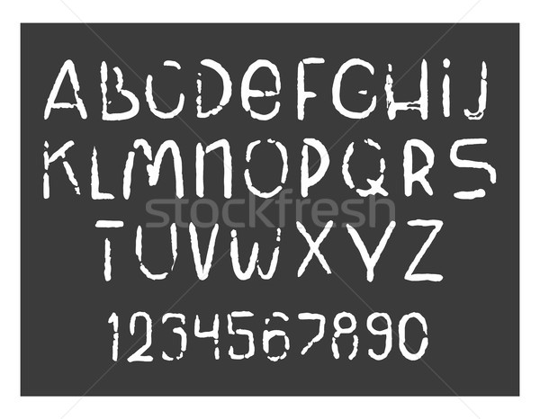 Hand drawn grunge style alphabet. Vector chalk font. Handwritten collection of letters and numbers. Stock photo © vasilixa