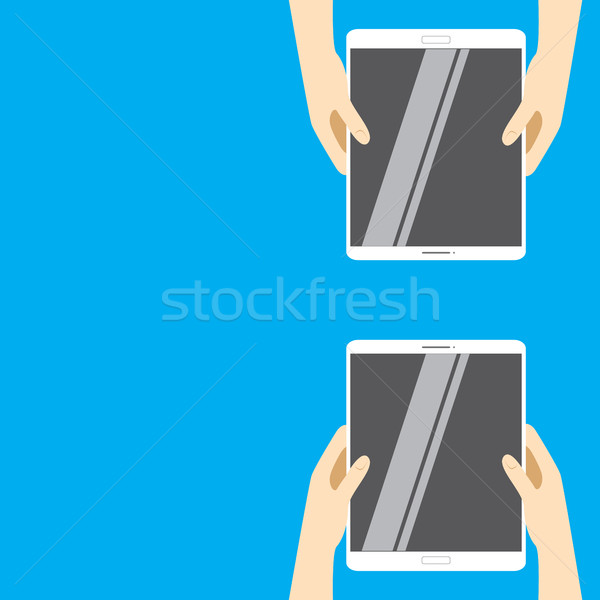 Mãos branco comprimido informática azul Foto stock © vasilixa