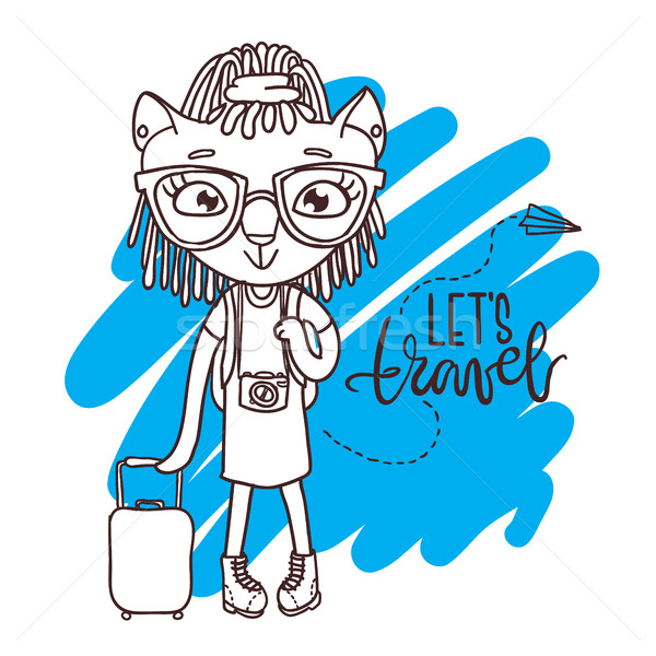 Cute little kitty in glasses with travel bag and camera.  Stock photo © vasilixa