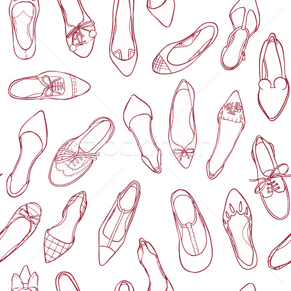 Contour shoes seamless pattern. Vector texture of footwear silhouettes. Stock photo © vasilixa