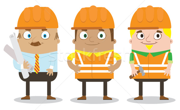 Colorful construction workers in helmets for different house remodeling. Stock photo © vasilixa