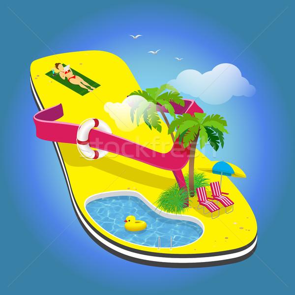 Férias de verão palmeiras sol piscina toalha Foto stock © vasilixa