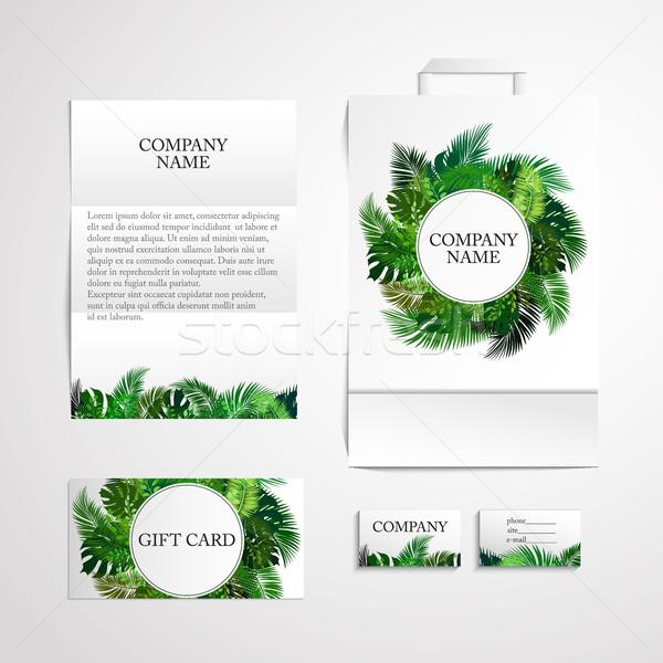 Stock fotó: Organikus · arculat · design · sablon · trópusi · levelek · természet