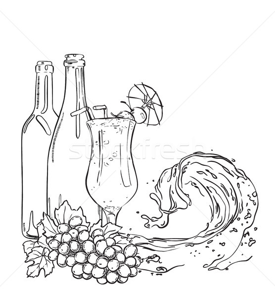 Bottles with grapes, cocktail glass and wave of liquid. Vector outline sketch illustration. Stock photo © vasilixa