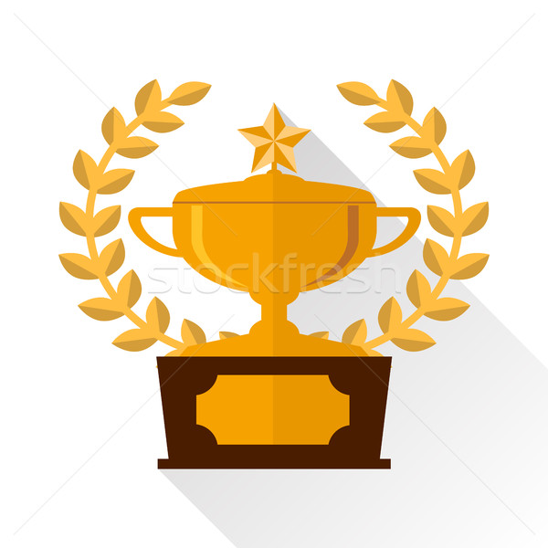 Awards cups with a medal icon. Flat design Stock photo © vasilixa