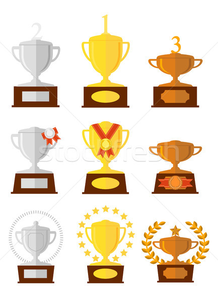 Awards cups icons set. Stock photo © vasilixa