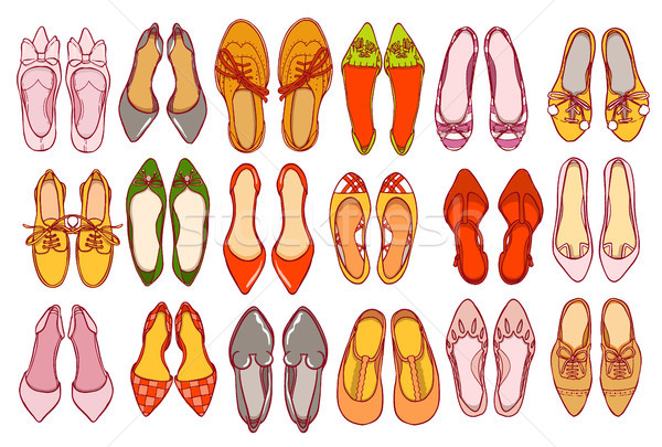 Stock photo: Woman shoes set. Vector colorful collection of girl's footwear.