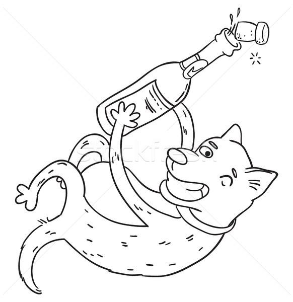 Gelukkig hond Open champagne fles glimlach Stockfoto © vasilixa
