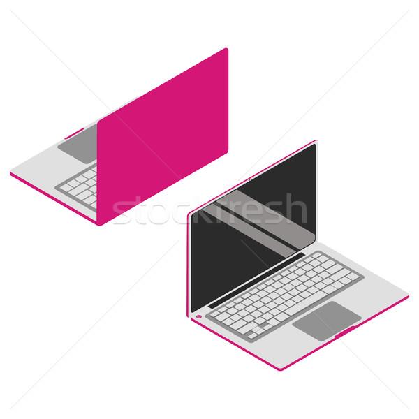 Stock fotó: Rózsaszín · izometrikus · vektor · szett · laptop · 3D
