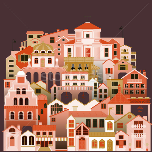 Colorful townhouses background. Vector cityscape with buildings. Stock photo © vasilixa