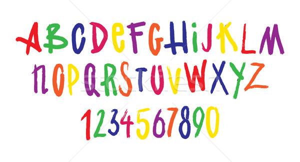 Colorido fonte brilhante impresso alfabeto Foto stock © vasilixa