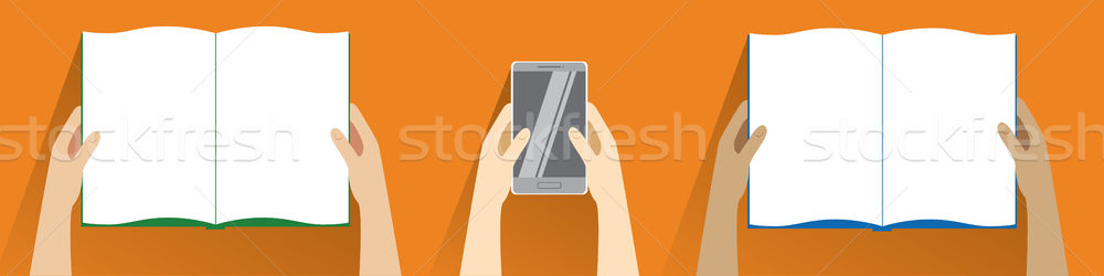 Hands holding open book and smartphone. Top view. Flat design modern vector illustration isolated  Stock photo © vasilixa