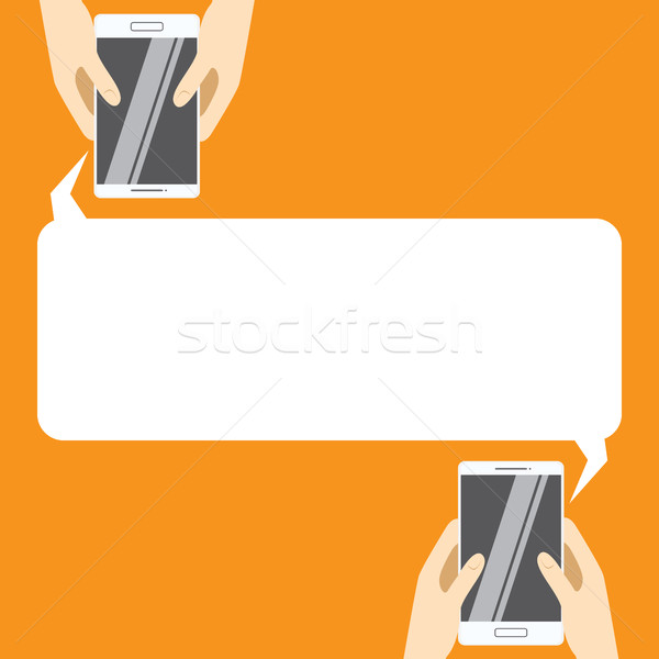 Kezek fehér okostelefonok szövegbuborék szöveg sms üzenetküldés Stock fotó © vasilixa