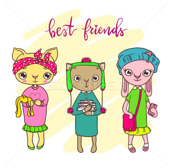 Bonitinho animal de estimação amigos ilustração menina fundo Foto stock © vasilixa