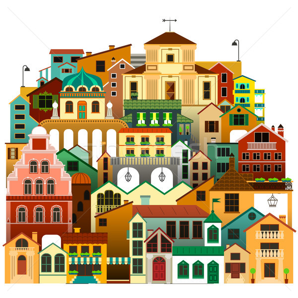 Vector isolated colorful townhouses. Urban architecture illustration. Stock photo © vasilixa