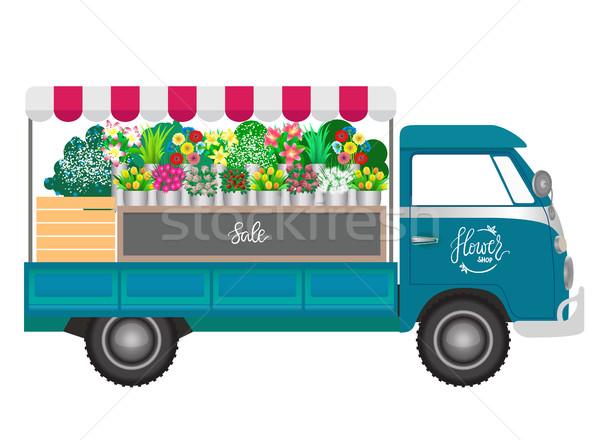 Stock fotó: Virágüzlet · virágok · bolt · mobil · kerekek · kék