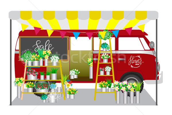 Flower shop. Flowers shop mobile on wheels. Red car with bouquet Stock photo © vasilixa