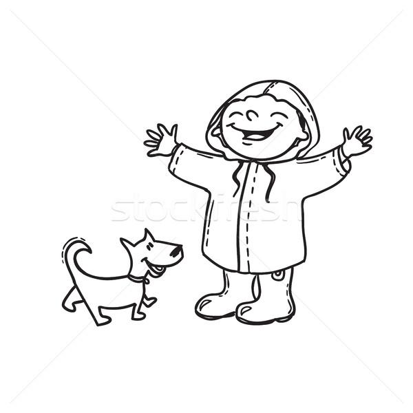 örömteli fiú esőkabát kutya kézzel rajzolt firka Stock fotó © vasilixa