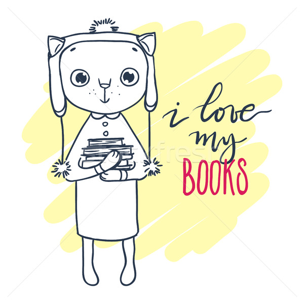 Cute kitty in hat with books. Inscription: I love my books.  Stock photo © vasilixa