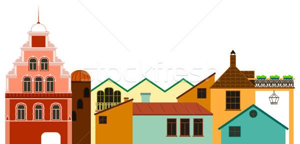 óváros városkép vektor színes panorámakép kilátás Stock fotó © vasilixa
