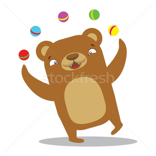 Circus bear juggling balls. Circus concept. Flat cartoon vector  Stock photo © vasilixa