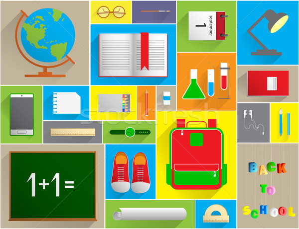 Back To School Banner Set With Flat Icons. Vector Flat Illustrat Stock photo © vasilixa