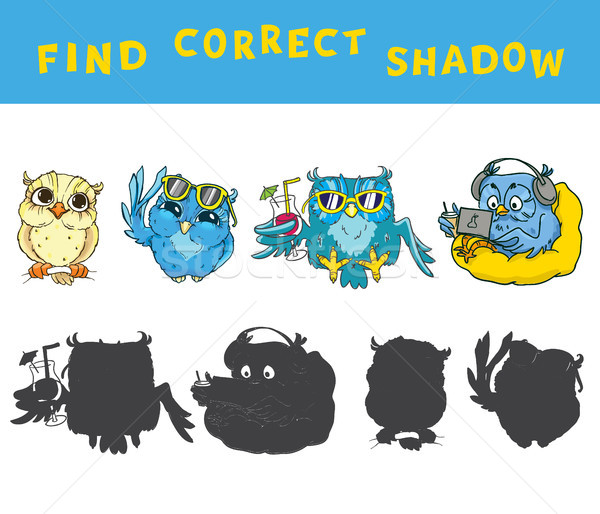 Find the correct shadow educational game for kids with owls. Vector colorful activity. Stock photo © vasilixa