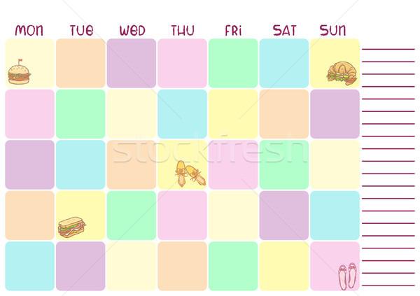 Tous les jours coloré planificateur affaires éducation alimentaire Photo stock © vasilixa