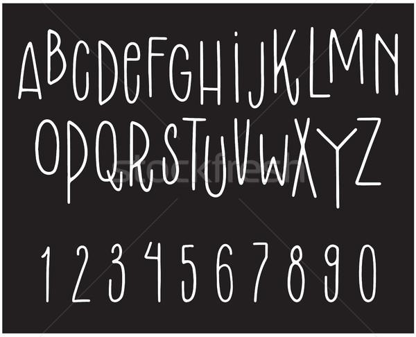 рисованной шрифт вектора набор письма номера Сток-фото © vasilixa