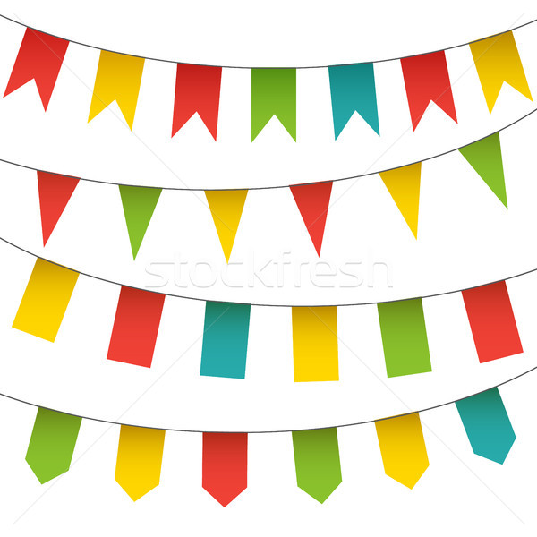 Decorative colorful flags and bunting garlands set. Vector isolated carnival elements collection. Stock photo © vasilixa